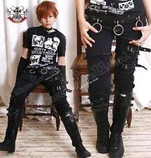 Punk Rock EMO afflitto Fibbia Stretch Cigarette Jeans Fray bordo Patch L XL