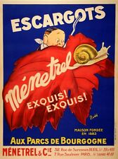 Original Vintage Poster Escargots Menetrel by Rudd c1925 French Food Snails Deco
