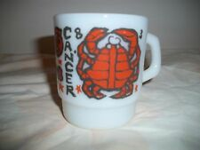 FIRE KING ANCHOR HOCKING COFFEE MUGS ZODIAC SIGN CANCER THE CRAB