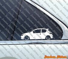 2x Lowered car outline stickers - for Peugeot 206 3-Door french car
