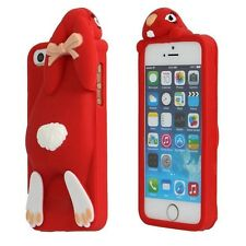 3D Cartoon Buckteeth Rabbit Silicone Soft Cover Case For iPhone 7 Red