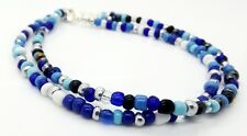 Anklets Blue Love-Beads 2pcs Ankle Chain Bracelets Handmade Jewellery By TaKuKai