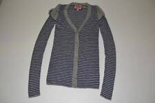 JUICY COUTURE GRAY NAVY BLUE STRIPED CARDIGAN SWEATER WOMENS SIZE P S PS