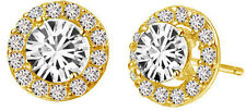 Luxury Diamante Gold Circle Zircon Bridal Wedding Party Earrings Studs E680