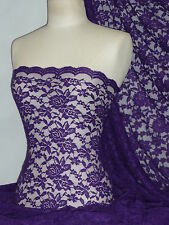 Lace Rose Design Scalloped 4 Way Stretch Lace Fabric- Purple Q723 PPL