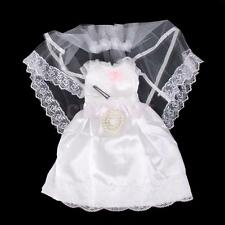 """White Wedding Satin Lace Dress Veil PANTS for 18"""" American Girl Doll Clothes"""
