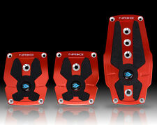 NRG BRUSHED RED ALUMINUM SPORT PEDAL W/BLACK RUBBER INSERTS FOR MANUAL TRANS