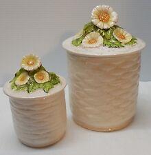 Porcelain Lidded Jar Basket Weave Design Daisy Flowers Lid Vintage Lefton Set 2