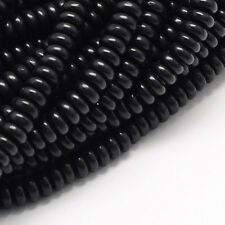 Lot of 100 Opaque Black 6mm Round Flat Rondelle Acrylic Resin Loose Disc Beads