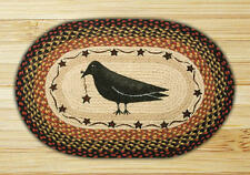 PRIMITIVE BRAIDED EARTH RUGS OVAL 20 X 30  CROW, SHEEP, BARN STAR,  PENNY FLOWER