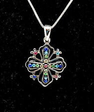 Jerusalem Cross Pendant With Swarovski Colored Gemstones