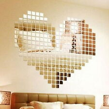 100 Piece Mirror Tile Wall Sticker 3D Decal Mosaic Room Decor Stick On Modern SY