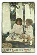 A4 Photo Willcox Smith Jessie 34 1903 Child in a Garden Five oclock tea Print Po