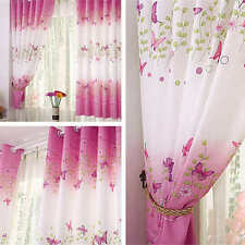 Pink Butterfly Childrens Bedroom Finished Curtain Kids Window Curtains Eyelet