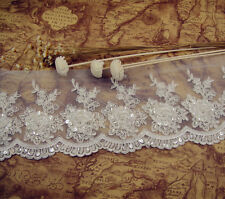 Sequin Beaded Bridal Lace Trimming Embroidered Guipure Trim Floral Sewing Edging