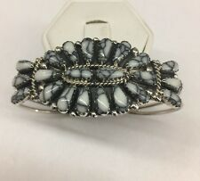 Native Navajo Hand Made Sterling Silver White Buffalo Turquoise Cuff Bracelet