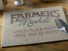Set of 4 FARMERS MARKET Hessian Covered RUSTIC PLACEMATS