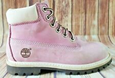 GIRL'S TIMBERLAND NUBUCK WHITE/PINK SUEDE LEATHER BOOTS SIZE 11