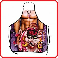 APRON-FUNNY-SEXY FETISH PORK PIG SHIRTLESS STRONG MUSCLE MAN-COOKING-COSTUME-BBQ