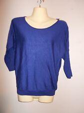 Express Womens Size XS Blue Sweater Short Dolman Sleeves Zipper Shoulder Seam
