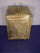 Vintage / Antique Art Nouveau Brass Tea Box Caddy Tin Lined Storage Box