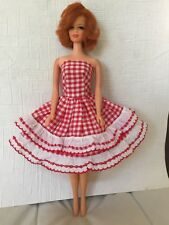 Vintage BARBIE, SUZETTE, TAMMY Clone RED GINGHAM & LACE TRIM SUN DRESS