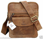 Starhide Mens Womens Distressed Hunter Brown Leather Cross Body Travel bag 505
