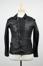 New. GIORGIO BRATO Black Leather Zip-Up Jacket Size 46/36 R $1840