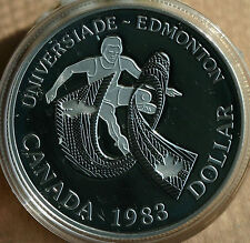 1983 Proof Edmonton World Games Commemorative Silver Dollar Canadian Coin ONLY