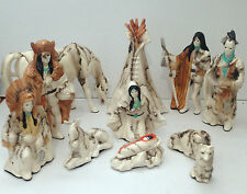 Handmade 11 Piece Horse Hair Native Nativity Pottery Set By Gina Arrighetti