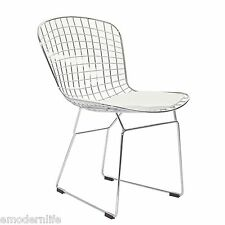 set of 4 modern bertoia style dining side chair mid century modern : white pad