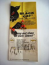 """1956 Advertising Card for """"Black Cat Snelled Fish Hooks w/ Orig Hooks Attached*"""