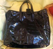 Auth YVES SAINT LAURENT YSL RASPAIL CROC EMBOSSED BLACK PATENT LEATHER TOTE