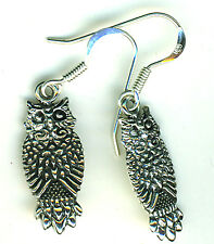 925 Sterling Silver Owl Drop / Dangle Earrings  Length 1.1/2