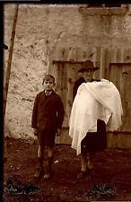 Portrait femme & enfants - négatif photo verre plaque an. 1930 negative glass