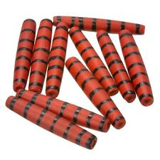 Red Bone Ethnic Hairpipe Tube Bead With Black Stripes 35mm Pack of 10 (E81/4)