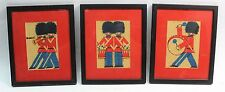 Adorable Lot of 3 c.1940's Toy Soldier Marching Band Children's Framed Pictures