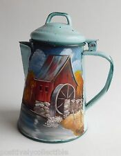 Vintage Hand Painted Old Mill Tole Ware Blue Tin Small Coffee Pot Art