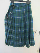 Blue & Green Tartan Long Vintage Kilt Size 6 - 8 from Edinburgh Tartan Gift Shop