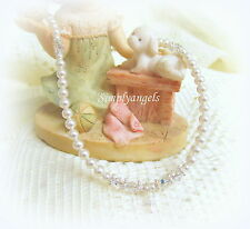 SWAROVSKI White Pearl Crystal child baby girl Baptism Communion CROSS necklace
