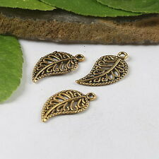 35pcs dark gold tone leaf charms findings h0615