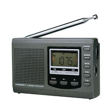 Portable DSP FM / MW / SW Receiver Emergency Radio w/Digital Alarm Clock +Track