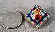 Vintage Old Millefiore Brooch Glass Flowers 3D in Brass 2 Levels - Italy -Estate