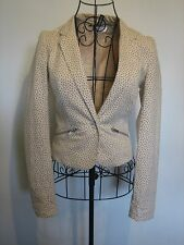 A LOVELY WOMEN'S STYLISH  PALE YELLOW & BLACK DOTS DIVIDED H&M JACKET SIZE 6