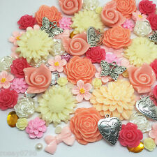 50 x Outstanding Quality Embellishments Resin Charms Flowers Bows Cabochon