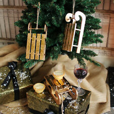 Gold wooden hanging sleigh Christmas tree decorations shabby traditional chic