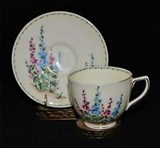 Crown Staffordshire - F13501-PINK & BLUE HOLLYHOCK w/GREEN BAND Cup & Saucer Set