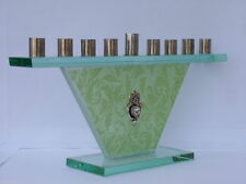 Glass Candle MENORAH ~ ~ ~ ~ jewish chanukah judaica metal hanukka menora green