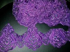11cm PURPLE embroidered bead venise lace bridal wedding dress prom trim net