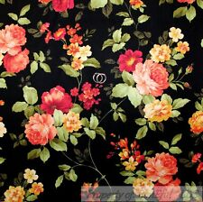 BonEful Fabric FQ Cotton Quilt Black Yellow Pink Red Rose Flower Garden Cottage